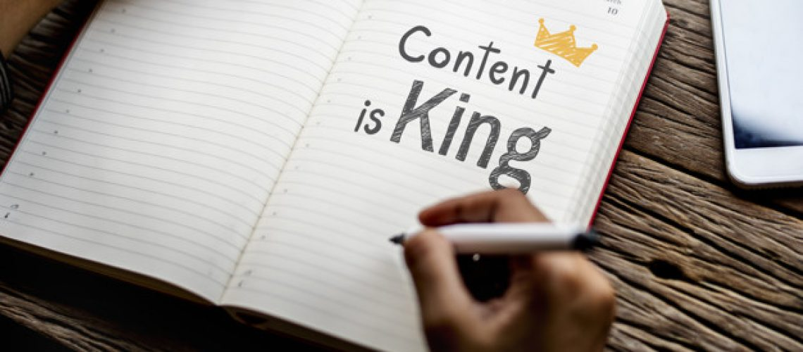 Phrase Content is king on a notebook